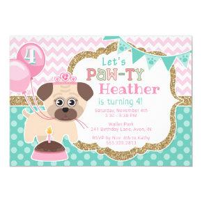 Girl Cute Princess Puppy Pawty Birthday Invitation