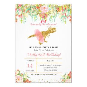 GIRL DINOSAUR 1st BIRTHDAY Invitation