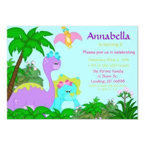 Girl Dinosaur Birthday Invitation