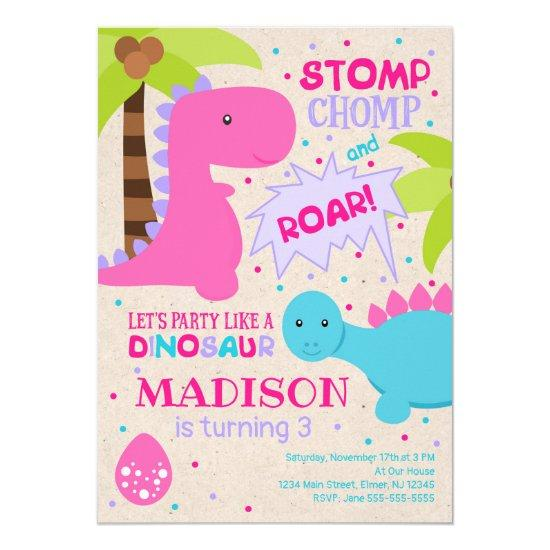 Girl Dinosaur Birthday Invitations Candied Clouds