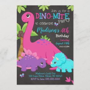 Girl Dinosaur Birthday Invitation / Dino Party