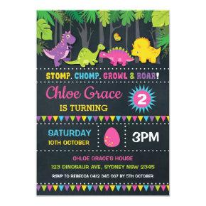 Girl Dinosaur Birthday Party Pink Roar Chalkboard Invitation