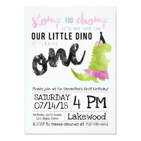 Girl Dinosaur Invitations Tutu First Birthday