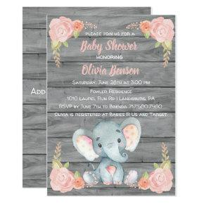 Girl Elephant Baby Shower Invitations