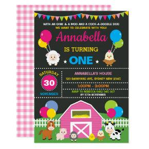 Girl Farm Barnyard Animals Pink Birthday Party Invitation