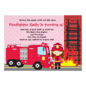 Girl Firefighter Birthday Invitations Fireman Truck