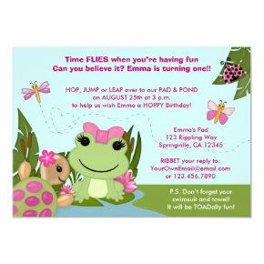Girl FROG birthday Invitations pink pond turtle