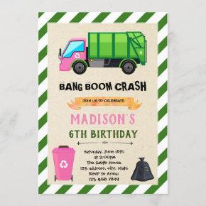 Girl Garbage Truck birthday invitation