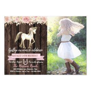 Girl Horse Pony Cowgirl Photo Birthday Party Invitation