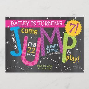 Girl Jump Birthday Party - Brights on Chalkboard Invitation
