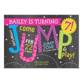 Girl Jump Birthday Party - Brights on Chalkboard Invitation