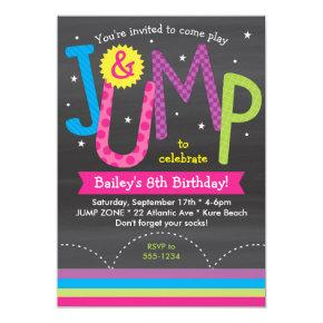 Girl Jump Birthday Party Chalkboard Pink Purple Invitation