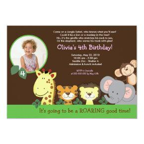Girl Jungle Safari Zoo Animal Photo Birthday Invitation