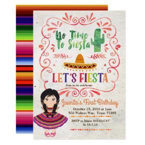 Girl Mexican Fiesta 1st Birthday Invitation