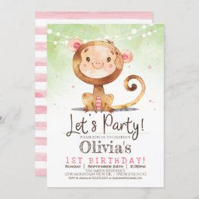 Girl Monkey Birthday Party Invitation