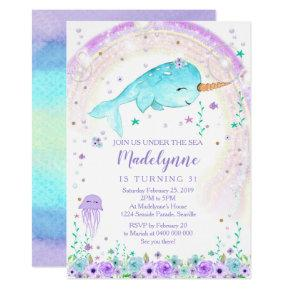 Girl Narwhal Invitation