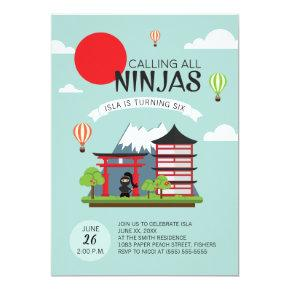 Girl Ninja Birthday Party Invitation - Japanese