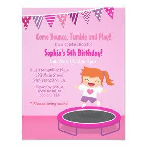 Girl on Trampoline Kids Birthday Party Invitations
