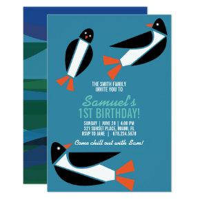 girl or boy winter PENGUIN BIRTHDAY ocean party Invitation