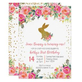 Girl Pink and Gold Bunny Birthday Floral Invitation