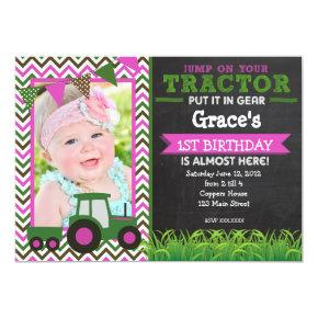 Girl Pink Tractor Birthday Party Invitations