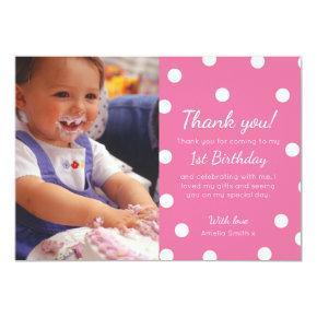Girl polka dotted birthday thank you card