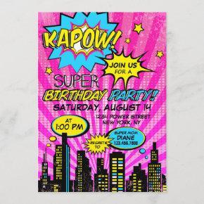 Girl Power Super Hero Comic Book Birthday Invitation