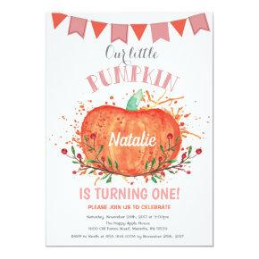 Girl Pumpkin Birthday Invitation Orange and Pink