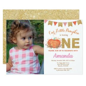Girl Pumpkin Fall Birthday Invitation Gold Glitter