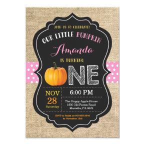 Girl Pumpkin First Birthday Invitation Burlap