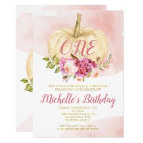 Girl Pumpkin Pink Gold First Birthday Watercolor Invitation