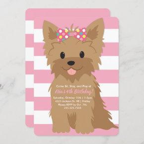Girl Puppy Birthday Party II Invitation