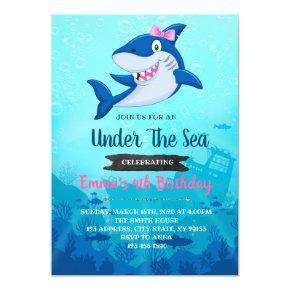 Girl Shark Birthday party invitation