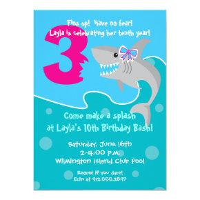 Girl Shark Bite Invite- 3rd Birthday Party Invitation