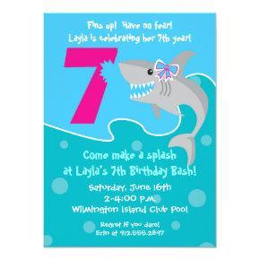 Girl Shark Bite Invite- 7th Birthday Party Card
