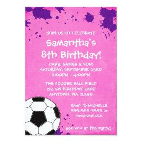 Girl Soccer Ball Birthday Party Invitations