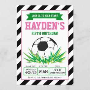 Girl Soccer Birthday Party Invitation