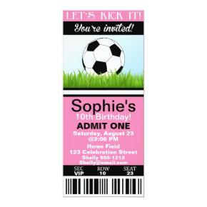 Girl Soccer Ticket birthday invitation customize