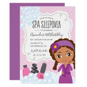 Girl Spa Sleepover Birthday Party Invitations