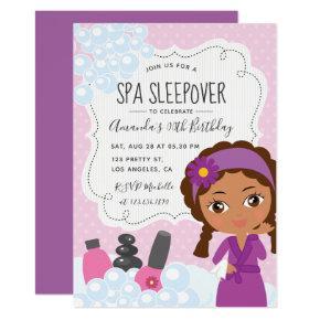 Girl Spa Sleepover Birthday Party Invitation