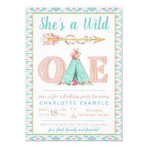 Girl Wild One Birthday Party Invitations