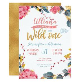 Girl Wild One Boho Floral First Birthday Invite