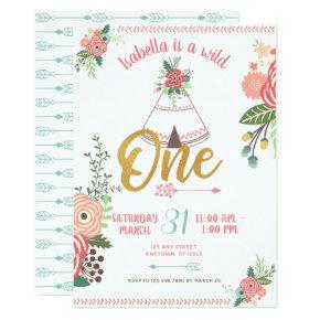 Girl Wild One Boho Tribal First Birthday Invite