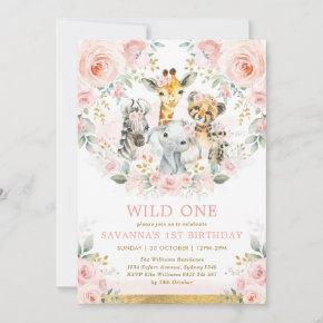 Girl Wild One Jungle Safari Blush Floral Birthday Invitation