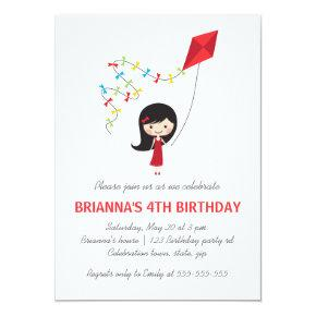 Girl with kite girls birthday party invitation