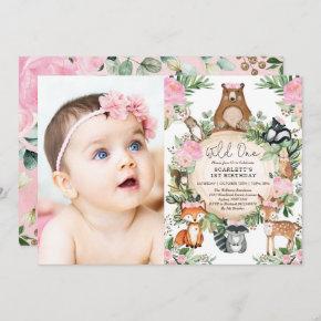 Girl Woodland Forest Pink Floral Wild One Birthday Invitation