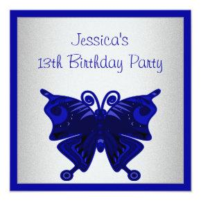 Girls 13th Birthday Cobalt Blue Butterfly Silver Invitations