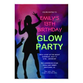 Girl's 13th Birthday Glow Party Invitations