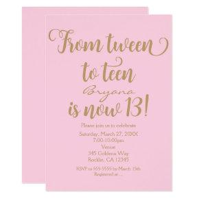 Girls 13th Birthday Party Pink & Gold Invitations
