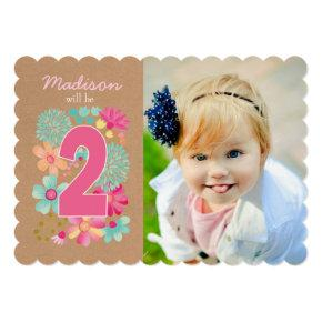 Girls 2nd Birthday Party Number Photo Invitations